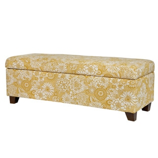 Handy Living Kent Vintage Sun-washed Floral Tan Wall Hugger Trunk Storage Ottoman