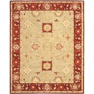 Safavieh Handmade Anatolia Oriental Farahan Sage Green/ Burgundy Hand-spun Wool Rug (5' x 8')