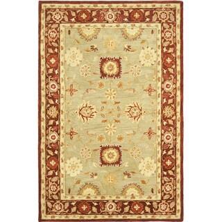 Safavieh Handmade Anatolia Oriental Farahan Sage Green/ Burgundy Hand-spun Wool Rug (6' x 9')