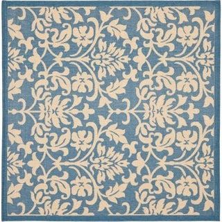 "Safavieh Seaview Blue/ Natural Indoor/ Outdoor Rug - 6'7"" x 6'7"" square"