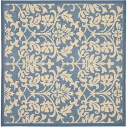 Safavieh Blue/ Natural Indoor Outdoor Rug (7'10 Square)