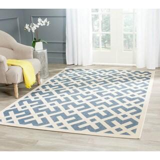 Safavieh Blue/ Bone Indoor Outdoor Rug (6'7 Square)