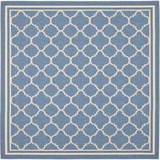 Safavieh Blue/ Beige Indoor Outdoor Rug (6'7 Square)