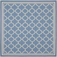 "Safavieh Blue/ Beige Indoor Outdoor Rug - 6'7"" x 6'7"" square"