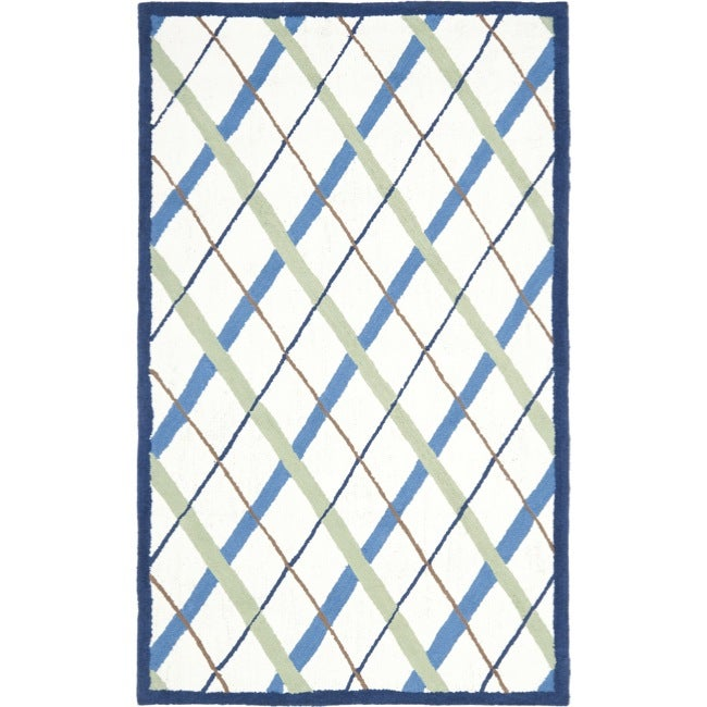 Safavieh Handmade Children's Diamonds Ivory/ Blue N. Z. Wool Rug (3' x 5') - Thumbnail 0