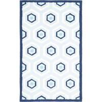 Safavieh Handmade Children's Hexagon Light Blue N. Z. Wool Rug - 3' x 5'