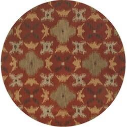 Hand-tufted Averlo Rust Rug (8' x 8' Round)