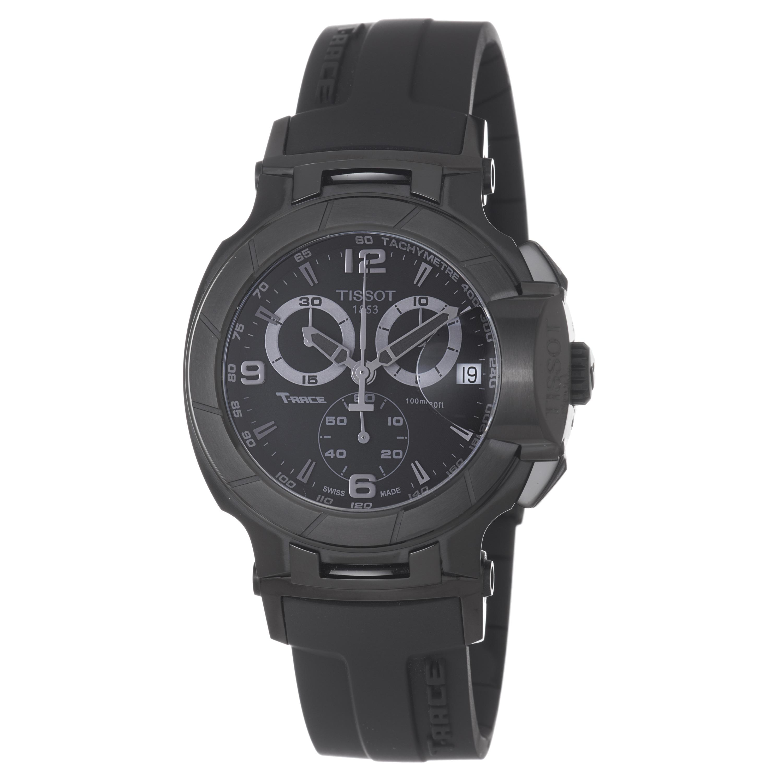 Tissot Men's T048.417.37.057.00 'T-Race' Black Chronograph Dial Black Rubber Strap Watch
