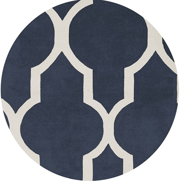 Hand-tufted Averlo Navy Rug (8' x 8' Round)