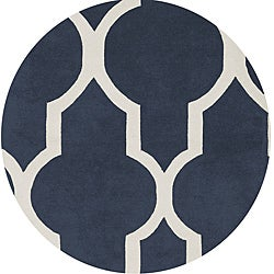 Hand-tufted Averlo Navy Rug (8' x 8' Round)