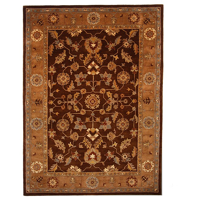 Tempest Traditional Hand-Tufted Brown Area Rug (8' x 11')