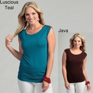 Cable & Gauge Women's Embellished Shoulder Top FINAL SALE