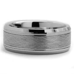 Tungsten Carbide Men's Brushed Center Ring (8 mm) - Thumbnail 1