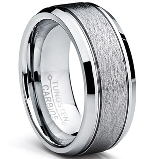Oliveti Tungsten Carbide Men's Brushed Center Ring Wedding Band (8 mm)