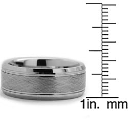 Tungsten Carbide Men's Brushed Center Ring (8 mm) - Thumbnail 2