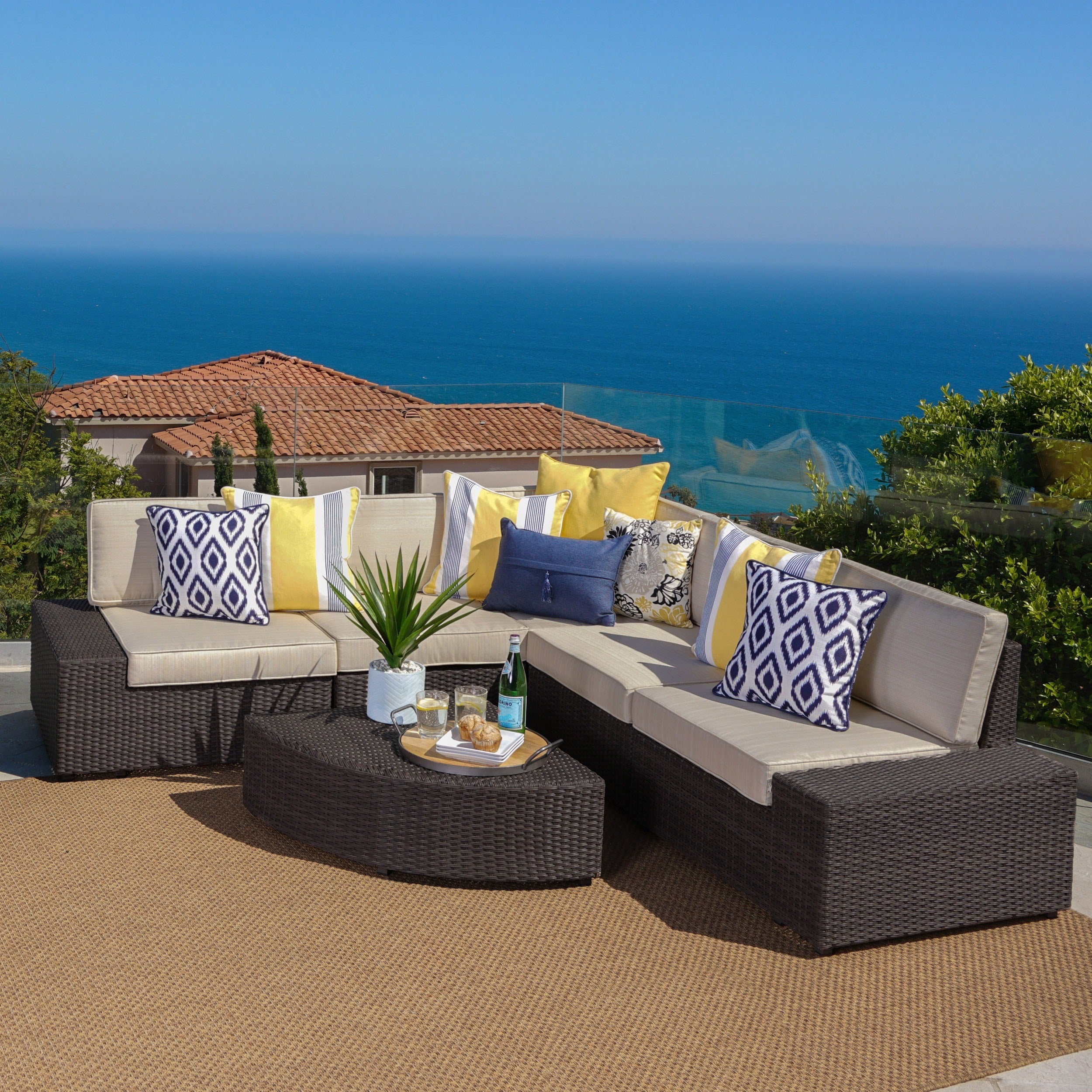 Shop santa cruz outdoor 6 piece wicker sofa set by christopher knight home free shipping on orders over 45 overstock com 6486689