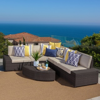 Santa Cruz Outdoor Brown Wicker Sofa Set by Christopher Knight Home