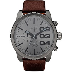 Diesel Men's Chronograph Grey Dial Watch with Brown Leather Band