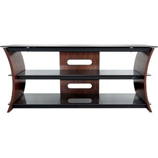Bell'O Curved Wood A/V Furniture in Rich Caramel Brown Finish