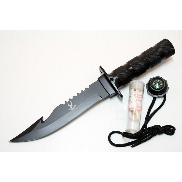 Defender 10.5-inch Stainless Steel Black Blade Survival Knife