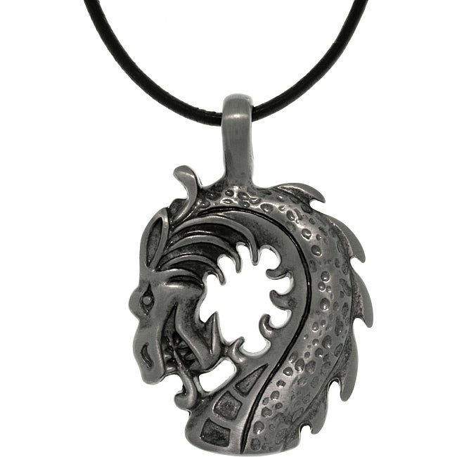 Carolina Glamour Collection Pewter Unisex Dragon Head Black Leather Cord Necklace