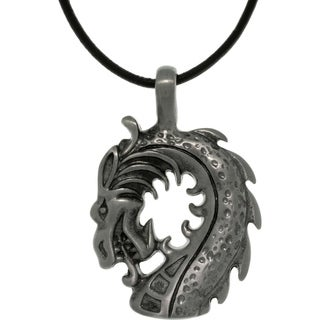 Pewter Unisex Dragon Head Black Leather Cord Necklace