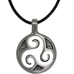 Carolina Glamour Collection Pewter Unisex Celtic Triskelion Spiral Black Leather Cord Necklace