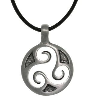 Pewter Unisex Celtic Triskelion Spiral Black Leather Cord Necklace