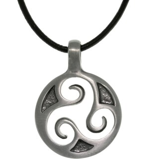 Pewter Unisex Celtic Triskelion Spiral Black Leather Cord Necklace