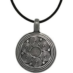 Carolina Glamour Collection Pewter Unisex Spiral Waves Black Leather Cord Necklace