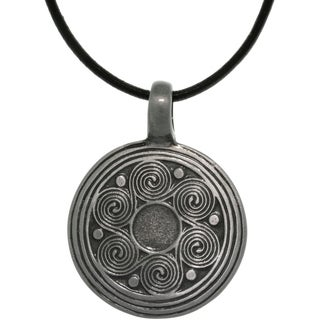 Pewter Unisex Spiral Waves Black Leather Cord Necklace