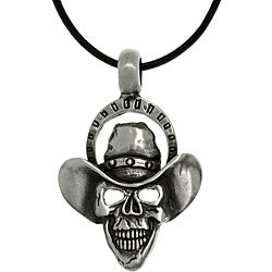 Carolina Glamour Collection Pewter Men's Skull Cowboy Black Leather Cord Necklace