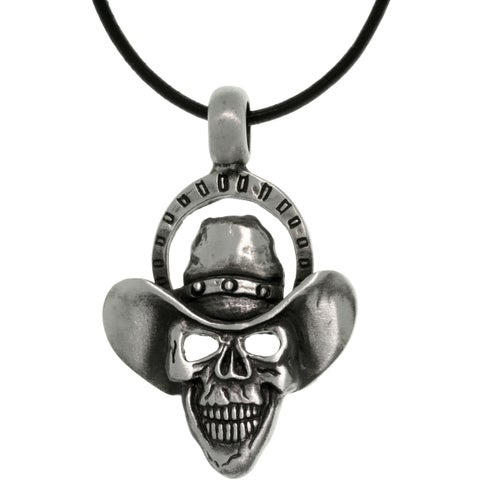 Pewter Men's Skull Cowboy Black Leather Cord Necklace
