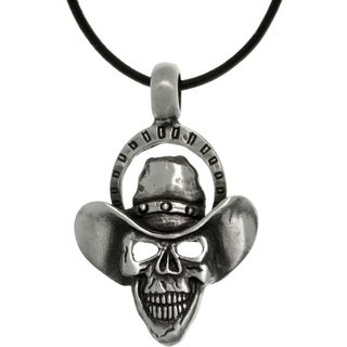Pewter Menu0027s Skull Cowboy Black Leather Cord Necklace