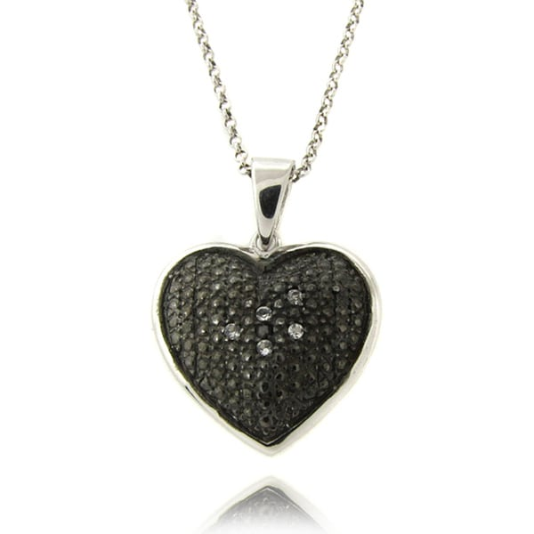 Dolce Giavonna Sterling Silver White Topaz and Black Diamond Accent Heart Necklace