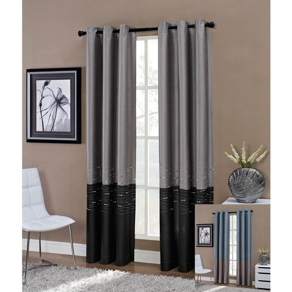Horizon Embroidered Grommet 84-inch Window Curtain Panel - 50 x 84