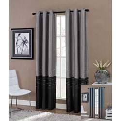 Horizon Embroidered Grommet 95-inch Window Curtain Panel