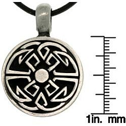 Carolina Glamour Collection Pewter Unisex Good Fortune Celtic Black Leather Cord Necklace - Thumbnail 2