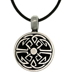 Carolina Glamour Collection Pewter Unisex Good Fortune Celtic Black Leather Cord Necklace