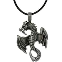 Pewter Unisex Flying Dragon Black Leather Cord Necklace