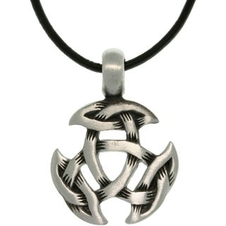 Pewter Unisex Celtic Crescent Knot Black Leather Cord Necklace