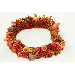 Handmade Capullo Orange/Gold/Brown Beaded Bracelet (Guatemala)