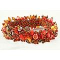 Handmade Capullo Orange/Gold/Brown Beaded Bracelet (Guatemala)
