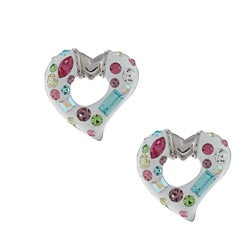 La Preciosa Sterling Silver Enamel Open Heart Crystal Earrings
