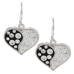 La Preciosa Sterling Silver Enamel and Clear Crystals Heart Earrings