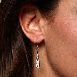 La Preciosa Silver Enamel and Multi-colored Crystal Teardrop Earrings - Thumbnail 2