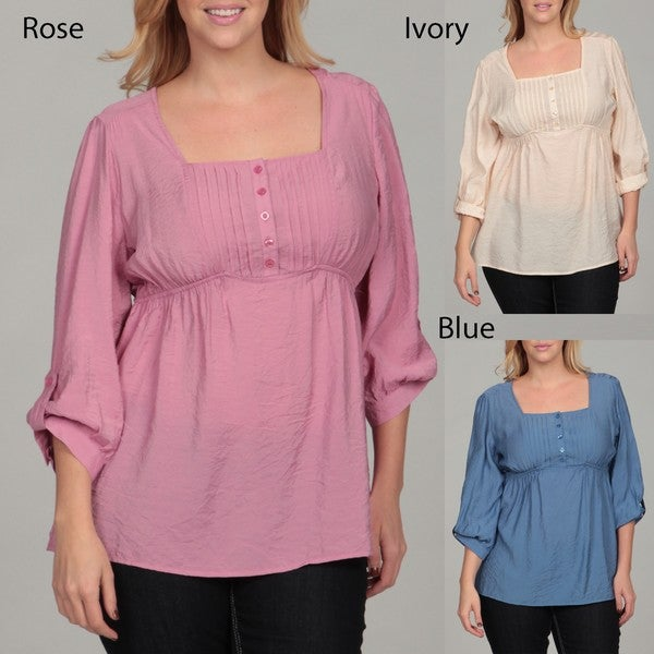 Millenium Women's Plus Size Pleated 3/4-sleeve Tunic Top