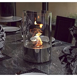 Accenda Stainless Steel Clear Portable Fireplace