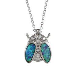 La Preciosa Sterling Silver Created Opal and CZ Bug Necklace
