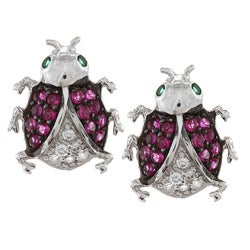 La Preciosa Sterling Silver Red, Clear and Green CZ Ladybug Earrings